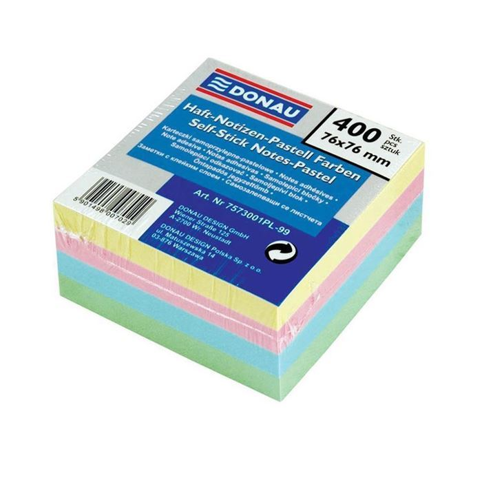 BLOK KOCKA 76 X 76 MM PASTEL 400L MIX