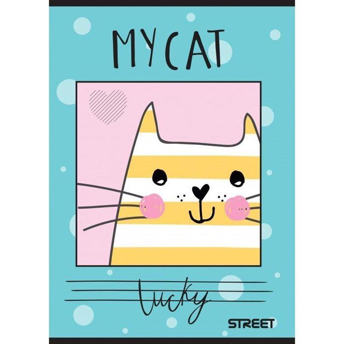 ZVEZEK STREET MY CAT ČRTAN Z ROBOM, A4, SORTIRANIH MOTIVOV